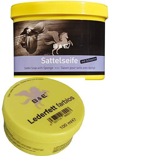 Bense u. Eicke B & E Sattelseife mit Schwamm 250 ml + Lederfett 100 ml farblos Lederpflege Set