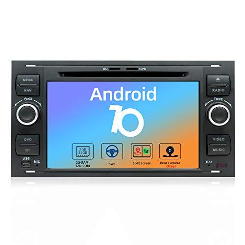 JOYX Android 10 Autoradio Per Ford C-Max/Connect/Fiesta/Focus/Fusion/Galaxy/Kuga/S-Max/Transit/Mondeo - 2G/32G - Gratuita Camera Microfono Canbus - 2 Din - 7 Pollici - 4G WiFi DAB BT5.0 SWC Carplay