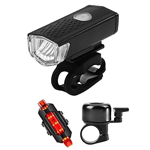 LED Fahrradlicht Set, USB Aufladbar Fahrradbeleuchtung Akku Fahrradlampe, Wasserdicht Frontscheinwerfer mit Fahrradlichter hinten, Lampensets Frontlicht Rücklicht Licht Fahrrad Lichtset mit Schwarze G