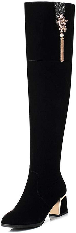 AdeeSu Womens Chunky Heels Tassels Imitated Suede Boots SXC03809