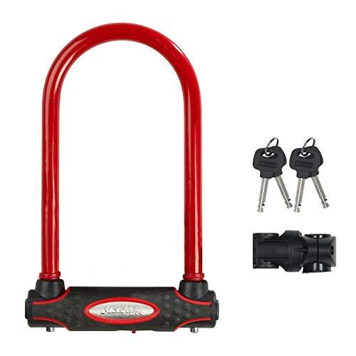 Master Lock 8195EURDPROCOLR Catena Bici U, Chiave, Supporto per Il Trasporto, Certificato Antifurto, Ottima per Bicicletta Elettrica, da Corsa, Rosso, Medium