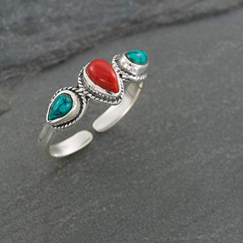 Boho Sterling Silver Ring With Red Coral and Turquoise Stones Open and Adjustable Tribal Oval product image