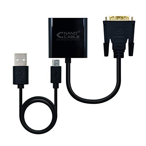 Nano Cable 10.16.2008-BK - Adaptador conversor DVI a VGA, Macho-Hembra, Soporta UXGA 1600x1200 y 1080p, Incluye Puerto Micro USB B de alimentación, Color Negro