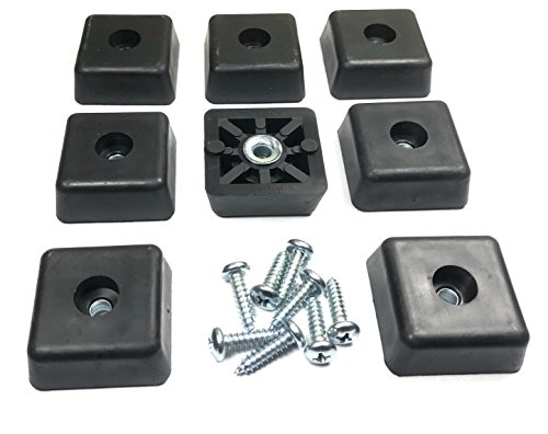 8 Large Square Rubber Feet Foot Bumpers w/Stainless Screws - .590 H X 1.500 W - Made in USA - Heavy Duty, Non Marking for Furniture, Tables, Chairs, Desks, Benches, Sofas, Chests, & Other Items.