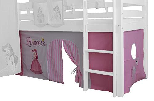XXL Discount Vorhang 3-teilig für Mädchen 100% Baumwolle Stoffvorhang Bettvorhang inkl Klettband für Hochbett Spielbett Etagenbett Stockbett Kinderbett (Rosa/Weiß, Prinzessin)