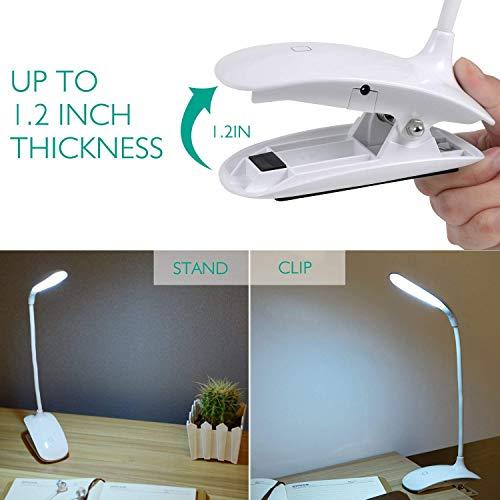 Adoric LED- Luz Lectura Lampara Escritorio Flexo Pinza con Panel Táctil Luz de Libro Recargable y 3 Niveles de Brillo (Blanco)