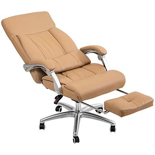 WSDSX Stuhl Home Office Schreibtischstuhl 170 ° bequemes Liegen Doppellagiges Design Schwammfüllung Bequem und atmungsaktiv Mit Fußstütze Tragfähigkeit 300 kg Schwarz/Braun (Farbe: BRAUN)