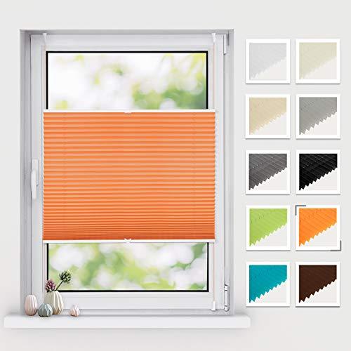 BelleMax Plissee klemmfix ohne Bohren, Jalousie Plisseerollo mit Klemmträger, Easyfix Sichtschutz Sonnenschutz, Faltrollo für Fenster & Tür, (35x120cm, Orange)