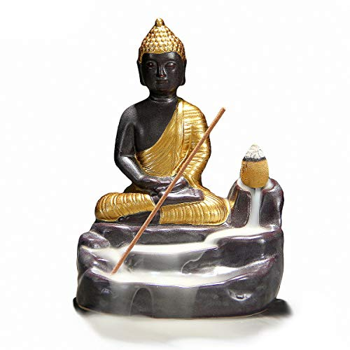 OTOFY Handmade Ceramic Incense Holder, Backflow Incense Burner Figurine Incense Cone Holders Home Decor Gift Decorations Statue Ornaments (Gold Buddha)