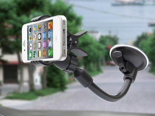 System-S KFZ Auto Windschutzscheibenhalterung Windschutzscheibe Halter mit Schwanenhals Saugfuß & Spannklemme für Smartphone Handy Navi Universal