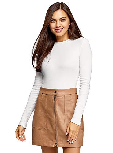 oodji Ultra Mujer Jersey de Algodón con Cuello Redondo, Blanco, ES 34 / XXS