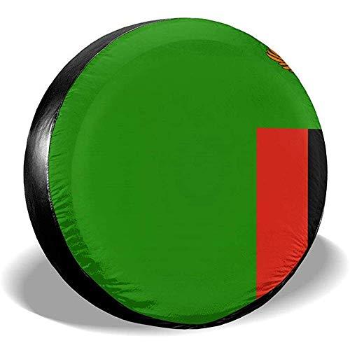 yyndw Reifenabdeckung Flag of Zambia Staubdichtes Zubehör Reserveradabdeckung wasserdichte Radreifenabdeckung Reifenabdeckung 60~69cm