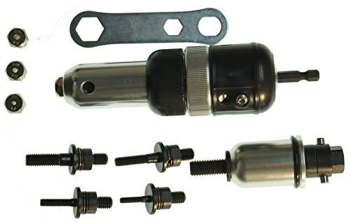 2 dispositivos * Remachadora + Remachadora de tuercas con vástago de 1/4' para el taladro.
