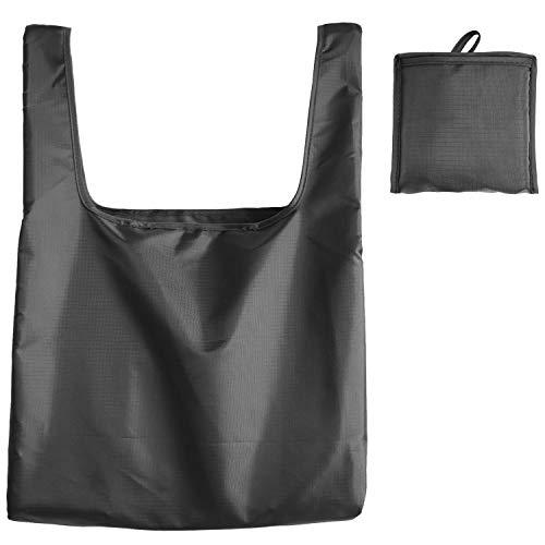折りたたみエコバッグ 男性 レジ袋型 39×40×14cm 大容量 ショッピングバッグ 男女兼用 無地 (ブラック, M)