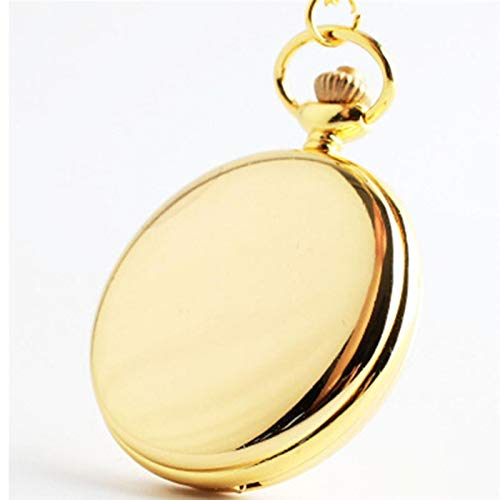 ZMKW Orologi Retro Classic Silver Polish Quartz Pocket Watch Mens Pendant Chain Smooth Pocket Watches Gift, Gold