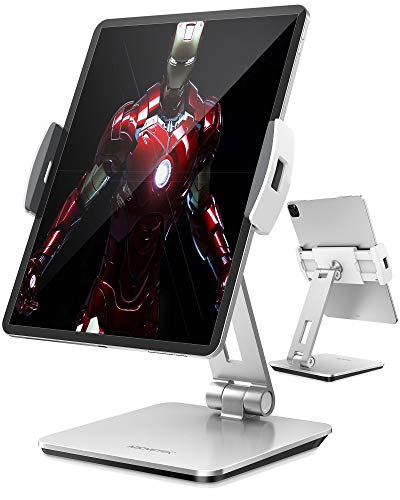 """AboveTEK Professional Business POS Tablet Stand, Flexible Tablet Mount for Home Office & Commercial Desktop with 360° Swivel Holders for Any 4-14"""" Display Tablets or Cell Phones (Silver)"""
