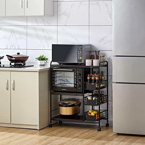 Estantería de cocina de metal, soporte estable para microondas, estantería multifuncional, soporte para microondas, ahorra espacio, con estructura y cesta de alambre de hierro, 4 ruedas