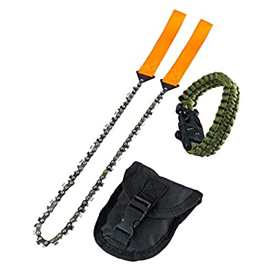 Survival Pocket Chainsaw Hand Saw Chain 3X Faster-33 Serrated 24 inch Hand Saw Chain with Orange Straps for Wood Cutting Hiking Camping Gear with Survival Bracelet Whistle Wristband