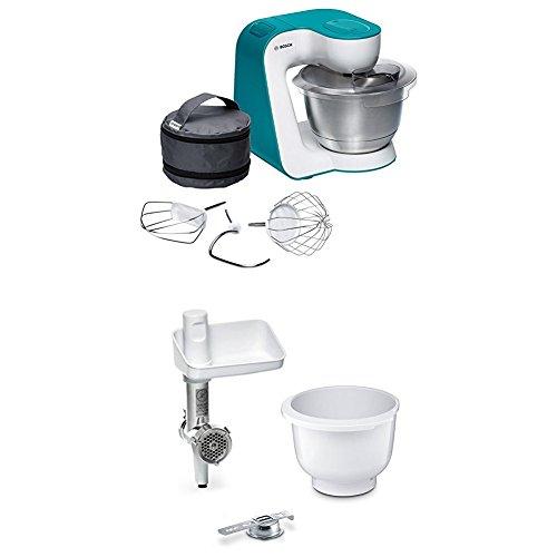 Bosch MUM54D00 Küchenmaschine StartLine, dynamic blau + MUZ5BS1 Lifestyle Set BakingSensation mit Spritzgebäckvorsatz, Rührschüssel, Fleischwolf, weiß