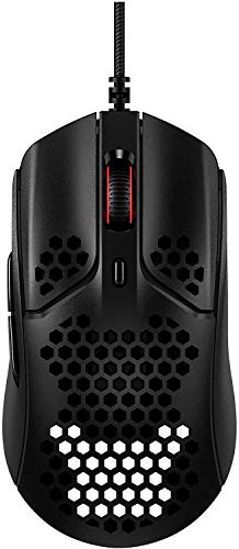 HyperX Pulsefire Haste – Gaming-Maus – Ultraleicht, 59g, Wabenschale, Hex-Design, Hyperflex-Kabel, bis zu 16.000 DPI, 6 programmierbare Tasten