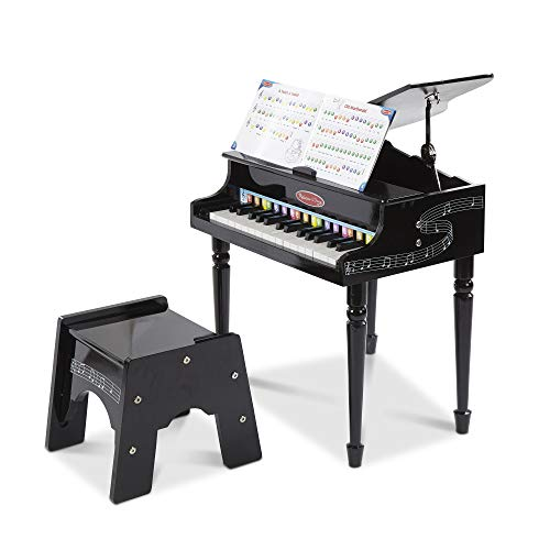 "Melissa & Doug Learn-to-Play Classic Grand Piano, Mini Keyboard with 30 Hand-Tuned Keys (23.65"" H X 21.4"" W X 10.05"" L, E-Commerce Packaging)"