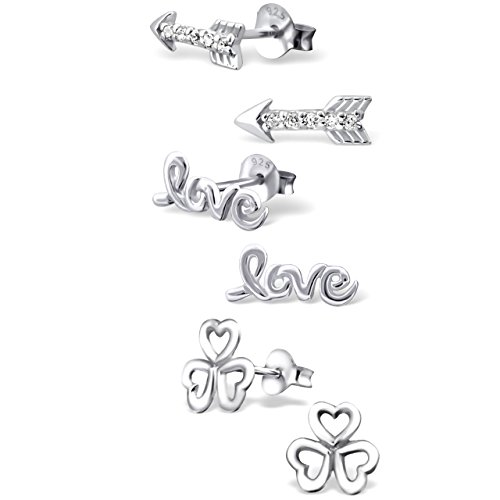 ICYROSE 925 Sterling Silver Set of 3 Pairs Arrow, Love, Clover Hearts Stud Earrings for Girls and Womens (Nickel Free) 20509