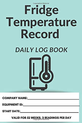 Fridge Thermometer Log Book   Food Safety Diary   6 x 9