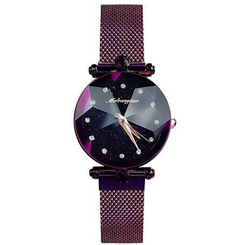 RORIOS Mujer Relojes Impermeable Brillante Cielo Estrellado Analogico Cuarzo Reloj