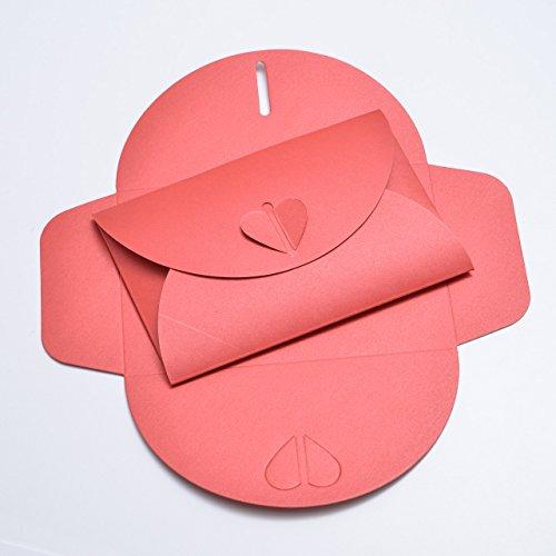 10 Rote Herz-Briefumschläge aus schimmernden Pearl-Karton, C6 = 162 x 114 mm, ideal zur Hochzeit, Verlobung und für Liebesbriefe