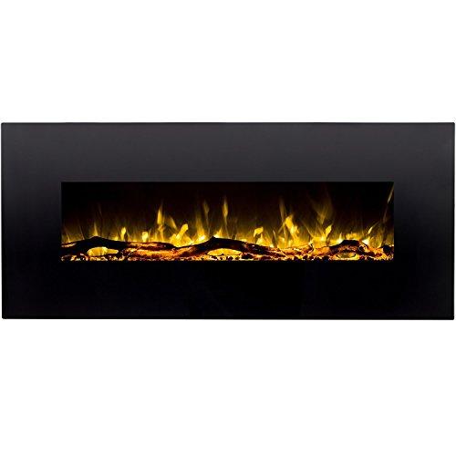 Regal Flame Denali Black 60 Log, Pebble, Crystal, 3 Color Heater Electric Wall...