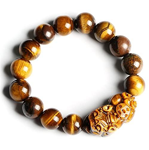 Weckan PIXIU/PIYAO Buddha Pulseras con Cuentas Natural Amarillo Tigre Ojo Piedras Preciosas Curación de la energía Pulsera de energía Ajustable Feng Shui Pulsera para Hombres,14mm