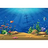 Leowefowa 3x2,5m Vinilo Telon de Fondo Mundo Submarino Fondo Marina Cumpleaños Dibujos Animados Mar Pez Barco Fondos para Fotografia Fiesta Niño Adulto Bebé Retrato Photo Studio Props Photo Booth