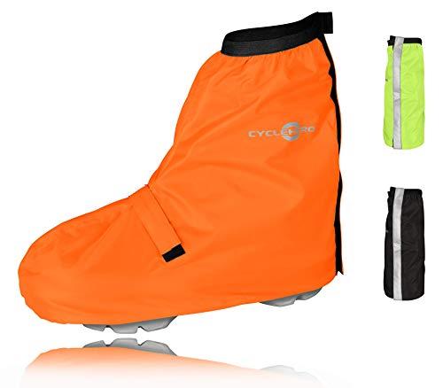 CYCLEHERO Überschuhe Fahrrad (orange, 44-46) Regenüberschuh wasserdicht inkl. Reflektor-Streifen, Größenregulierung und Stabiler Lauffläche für Herren und Damen - Regengamaschen Outdoor Unisex
