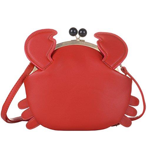 QZUnique Women's PU Crab Clasp Closure Tote Handbag Cute Satchel Cross Body Shoulder Bag