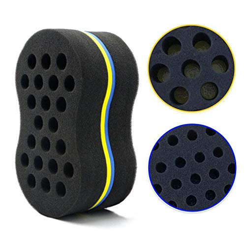 RioRand Magic Twist Hair Brush Sponge Big Small Holes Double Sided Hair Styling Tools Dreadlock Twisting Afro Curls Coil Hair Care Comb Sponge (Two-Side)