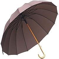 J-Handle木製傘、UV&クラシックバージョン、大型防風スティック傘、男性用と女性用の自動オープン傘(Color:コーヒーの色)