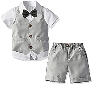 Little Boys Gentleman Formal Suit Set W/Vest,Short Pant,Shirt,Bow Tie,Baby Boys Short Sleeve Wedding Clothes 4Pcs Outfit