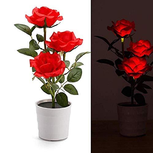 Ankamal Elec Solar Garden Lights Outdoor Deko, Rose Blume Beleuchtung LED Künstlich Rose Topf Blume Bonsai LED Lampe für Garten, Terrasse, Backyard (rot)