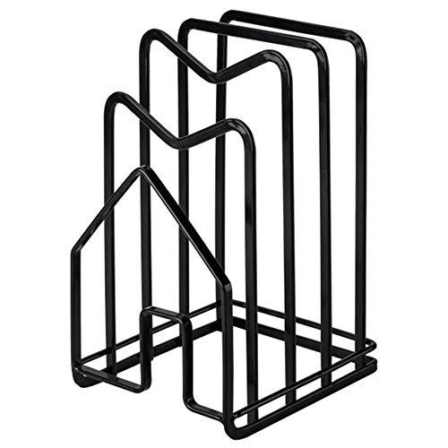 Casinlog Tabla de cortar organizador soporte tabla de cortar estante cocina encimera ollas tapas rack organizador plano acero