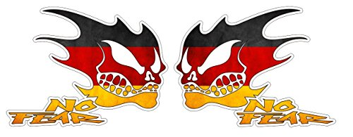 No Fear Aufkleber Deutschland Germany Distressed Grunge Style Oldschool Sticker / Plus Schlüsselringanhänger aus Kokosnuss-Schale / Auto Motorrad Laptop Racing Tuning Motorsport American Muscle Car