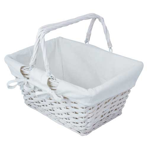 JVL White Split Willow Shopping Storage Basket with Lining