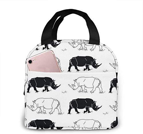 Bolsa de almuerzo de rinocerontes blancos y negros para mujeres, niñas, niños, bolsa de picnic con aislamiento, bolsa térmica Bento, bolsa grande para preparación de comidas, bonita bolsa