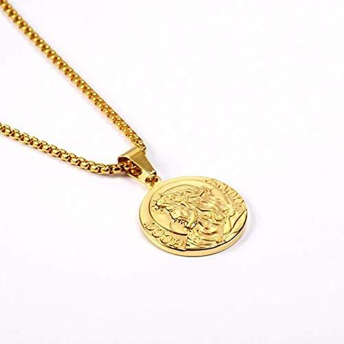 Stijlvolle eenvoud roestvrij staal vintage ronde gouden munt hanger ketting religieuze herdenkingssieraden kettingen, MN Big Gold