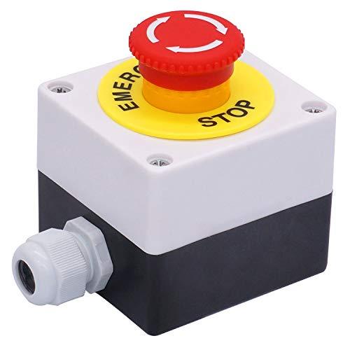 Taiss / 22mm 2 NC Red Sign Pilz Not-Aus Druckschalter Station 10A 440V Stoppschalter Box LA38A-02ZS-BOX