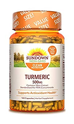 Turmeric Herbal Supplements by Sundown, for Antioxidant Health, Non-GMOˆ, Free of Gluten, Dairy, Artificial Flavors, 500mg, 140 Capsules from NBTY.inc - US Nutrition,inc.