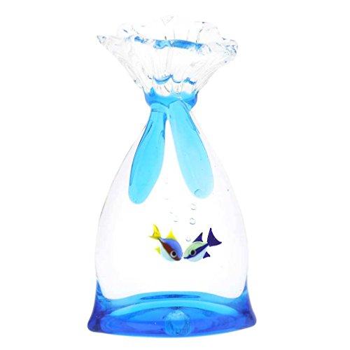 Murano Glas Aquarium Tasche mit zwei tropischen Fischen - 3-1/4 Zoll