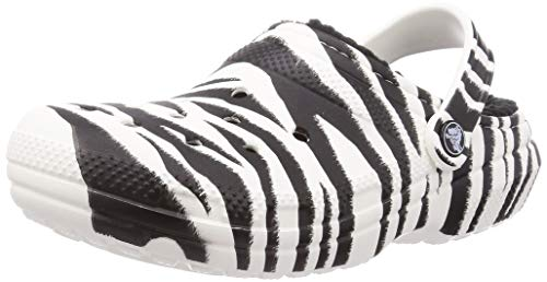 Crocs womens Classic Lined Animal Print | Fuzzy Slippers Clog Black/Zebra Print 8 Women 6 Men US