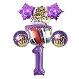 JSJJATF Globos Big Regalo Caja Pastel de Aluminio Foil Foil Set Purple Number Theme Theme Cumpleaños Fiesta de cumpleaños 18 años de Edad Adulto Regalo (Color : 1)