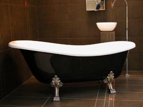 Casa Padrino Freistehende Badewanne Jugendstil Roma Schwarz/Weiß/Chrom 1470mm - Barock Antik...