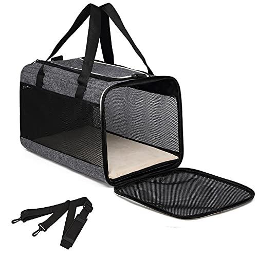 Yoommd Bolsa de transporte para mascotas para perros y gatos, bolsa de transporte para perros y gatos, de nailon Oxford con ventana de malla transpirable, 50 x 30 x 30 cm
